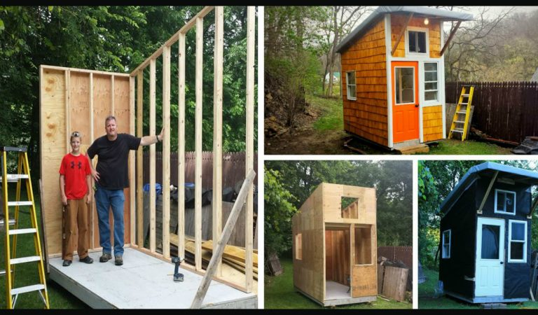 Teenager builds a small house in his backyard, using mostly his own money and resources.
