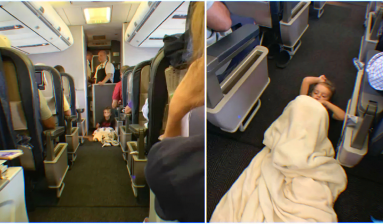Autistic child gets to calm down during a flight after his request is fulfilled.