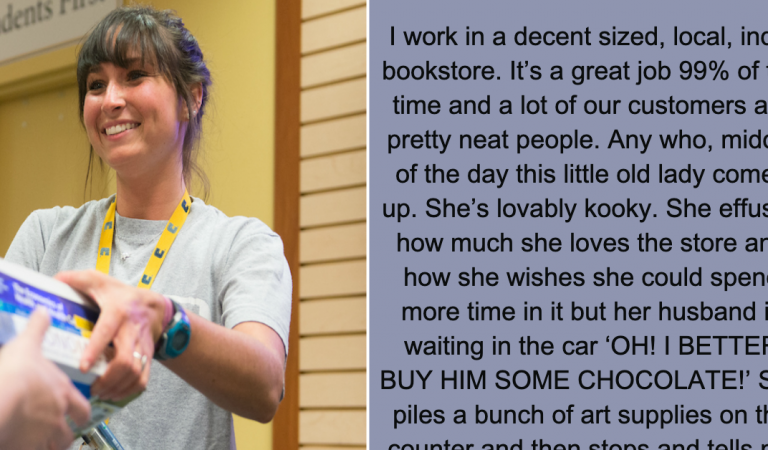 "Bookstore employee writes this on Facebook after ""little old lady"" shocks everyone at the register"