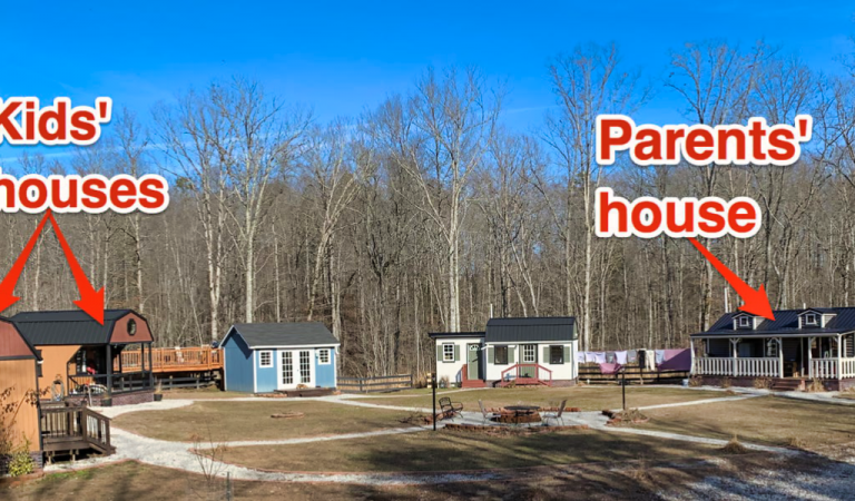 A family built a private tiny-house village where everyone lives on their own
