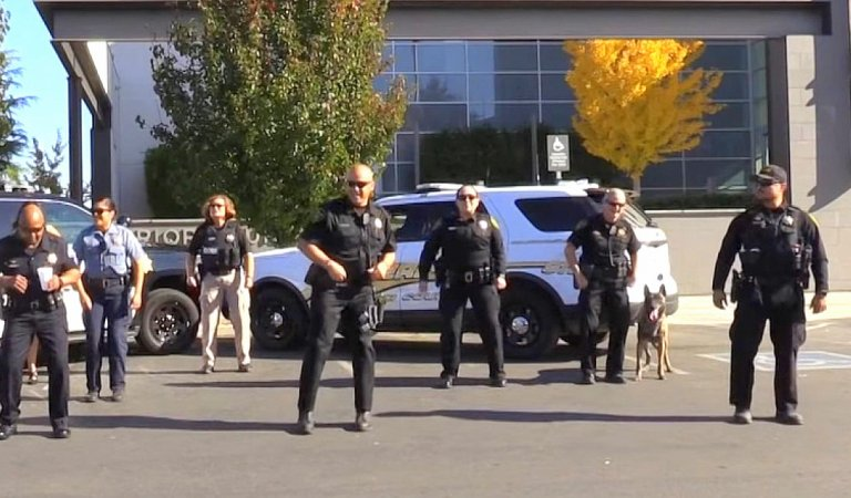 Look at how this cute K-9 joins these police officers in their dance challenge