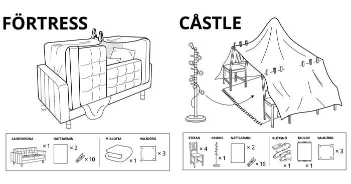 IKEA gives instructions on how to build furniture forts while you are in quarantine